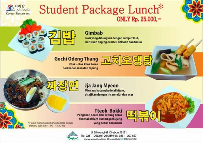 Bentani Hotel Sediakan Paket Menu Makanan Korea Khusus untuk Pelajar