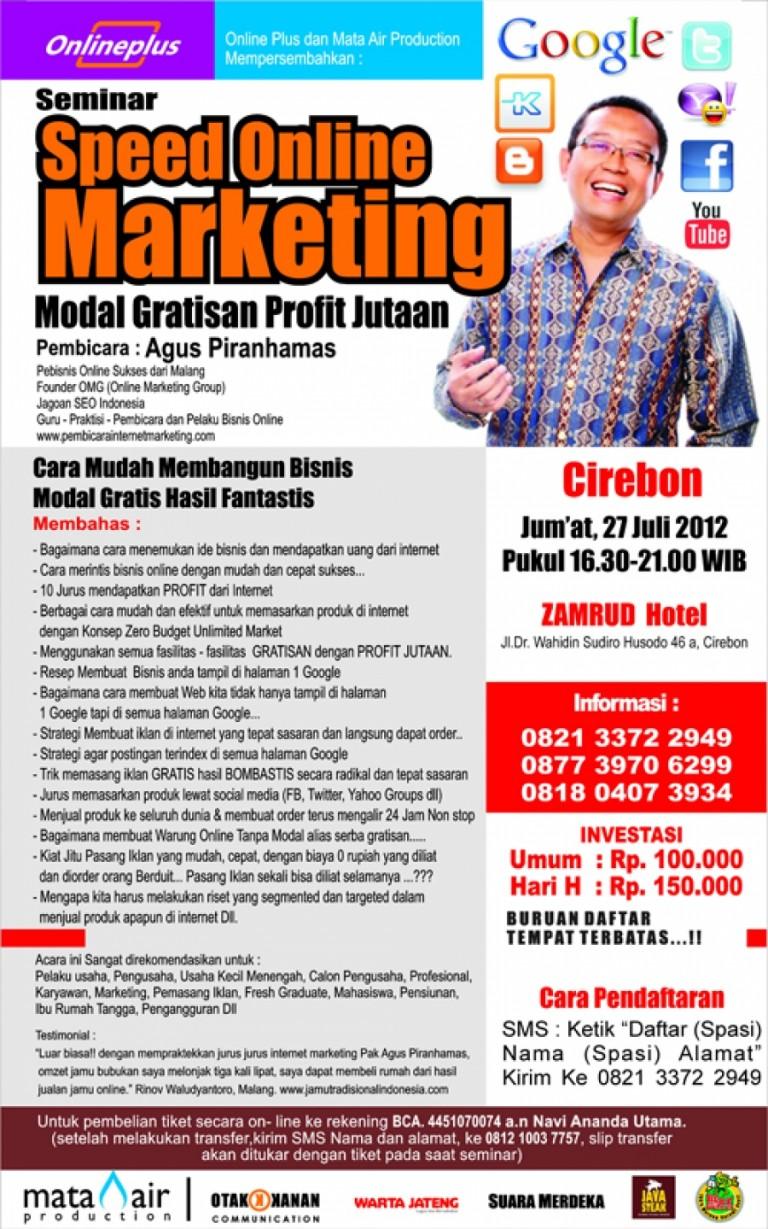 Seminar Speed Online Marketing : 27 Juli 2012