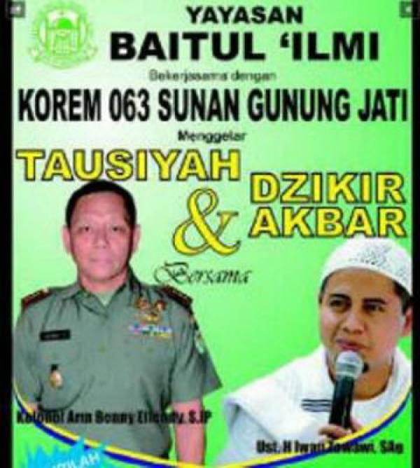 Korem 063 SGJ & Baitul Ilmi Gelar Tausiyah dan Dzikir Akbar Bersama Ustadz Iwan Zawawi