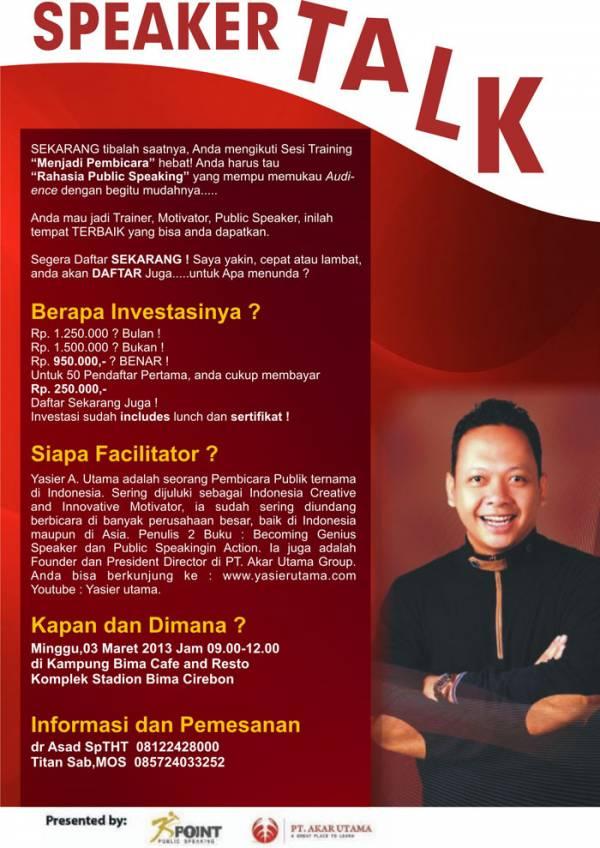 Training Menjadi Pembicara Hebat 3 Maret 2013
