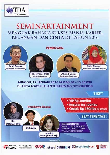 17 Januari, Komunitas TDA Cirebon Gelar Seminartaiment