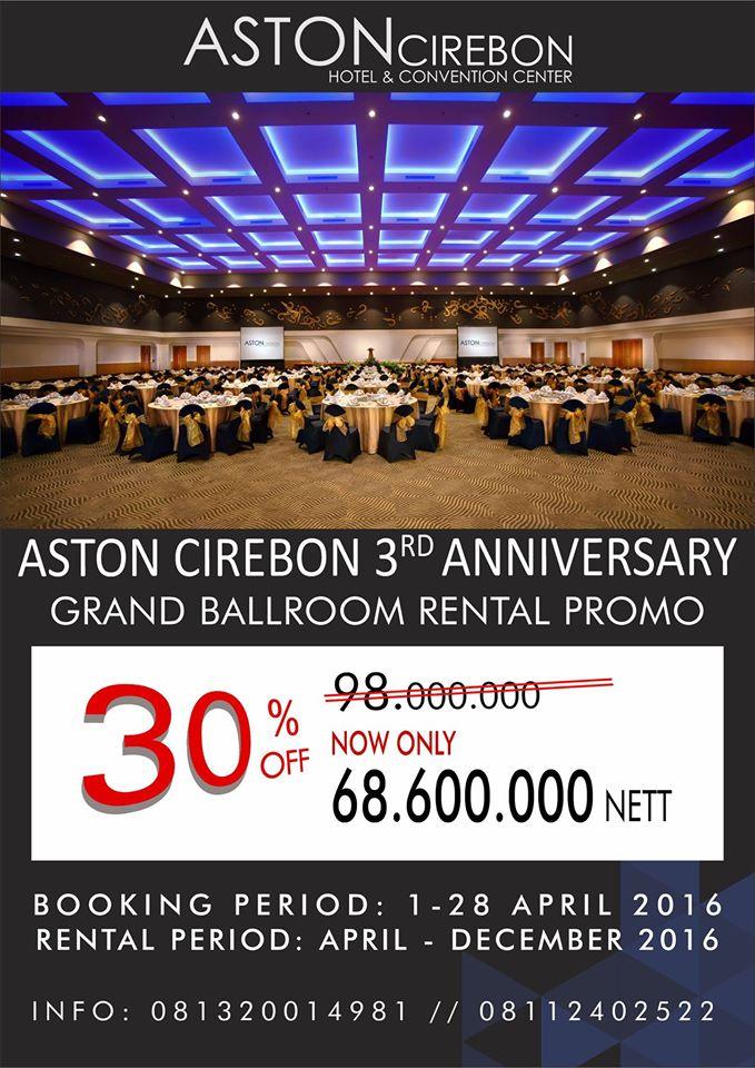 Sambut Ulang Tahun Ketiga, Aston Hotel Cirebon Berikan Promo Menarik