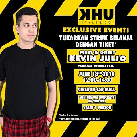 Kevin Julio Akan Meriahkan Grand Opening KHU Style & Co Cirebon