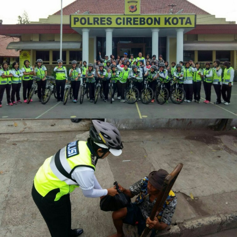 Polwan Polres Cirebon Kota Gowes Sambil Berbagi
