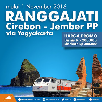 Mulai 1 November 2016, Cirebon – Jember Dilayani Kereta Api Ranggajati