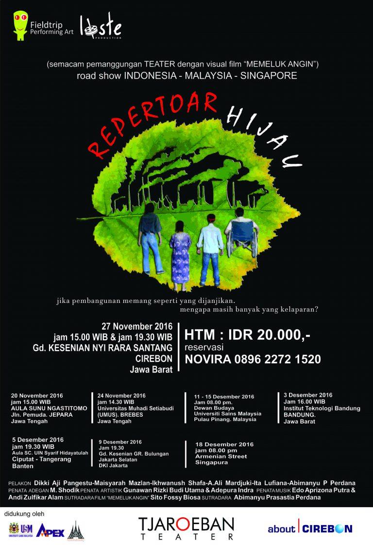 """Pertunjukan """"Repertoar Hijau"""" Yogyakarta Akan Hadir di Gedung Kesenian Cirebon"""