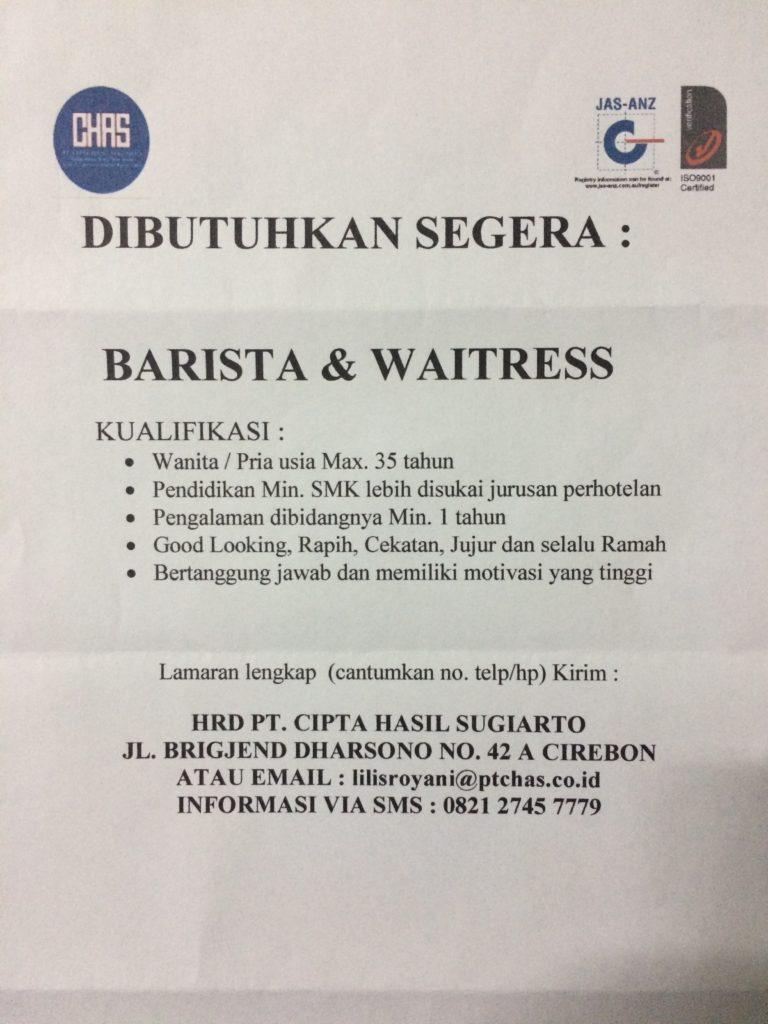 Lowongan untuk untuk Barista & Waitress