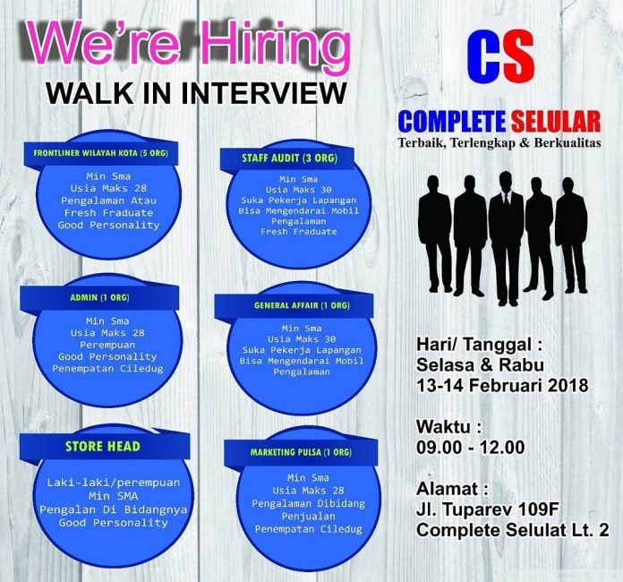 Walk In Interview Di Complete Selular