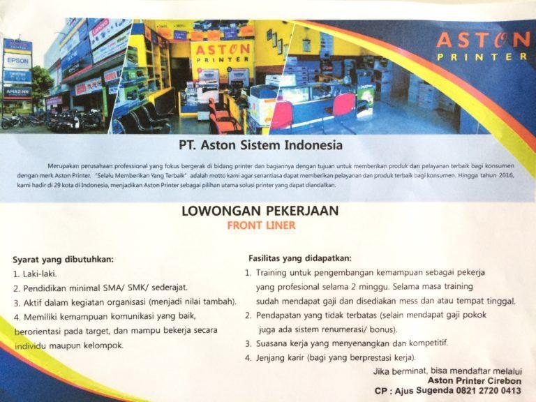 Lowongan Kerja di Aston Printer Cirebon