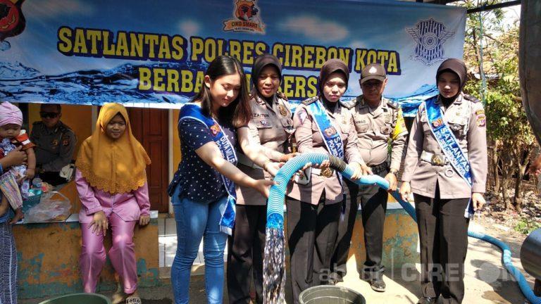 Satlantas Polres Cirebon Kota Salurkan Air Bersih Sebanyak 18.000 Liter di Argasunya