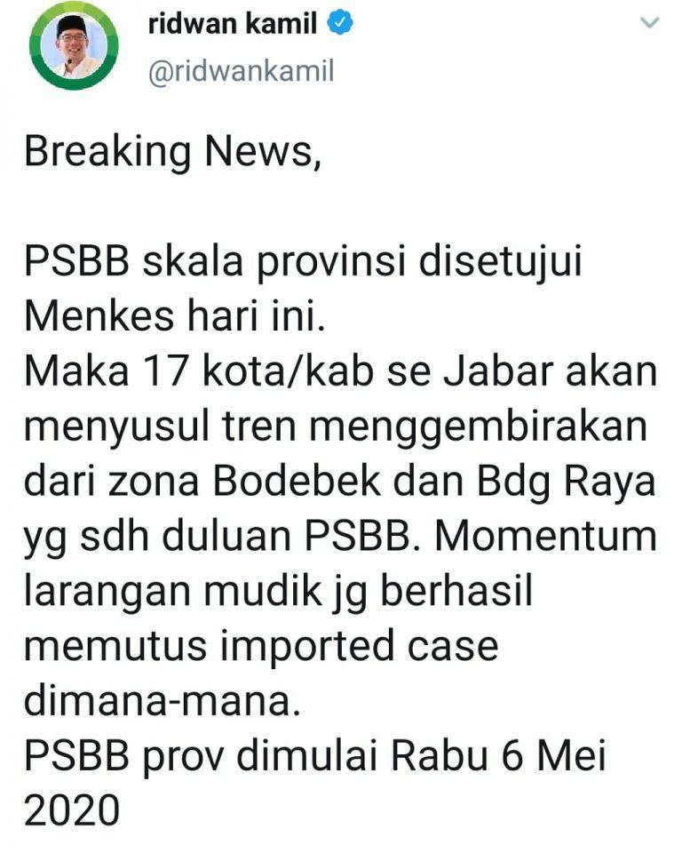 Disetujui Menteri Kesehatan, PSBB Skala Provinsi Jawa Barat Mulai 6 Mei 2020